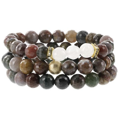 Fox and Baubles Fancy Jasper, White Ceramic Jasper, Brass Bead and Crystal Spacers Beaded Stretch Bracelets (Pack of 3)