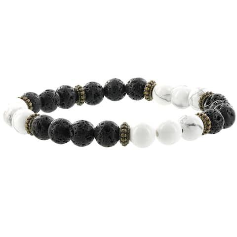 Fox and Baubles Howlite, Lava Stone, and Brass Spacers Men's Stretch Bracelet
