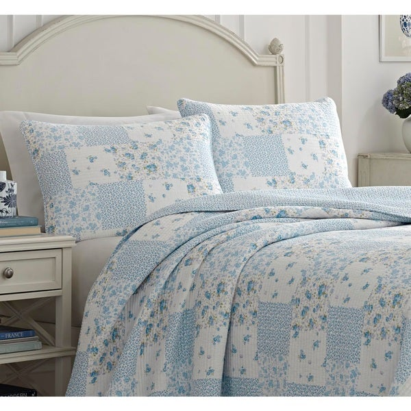 Laura Ashley Patchwork 3 Piece Pre-Washed Cotton Quilt Set Full//Queen