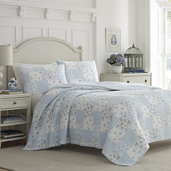 Laura Ashley Kenna Blue Quilt Set