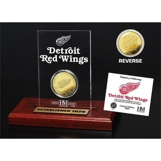 Detroit Red Wings 11-Time Stanley Cup Champions Gold Coin Etched Acrylic - Multi