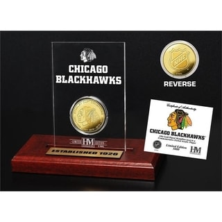 Chicago Blackhawks 6-Time Stanley Cup Champions Gold Coin Etched Acrylic - Multi