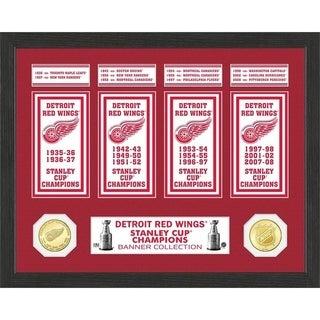Detroit Redwings Stanley Cup Banner Collection Photo Mint - Multi