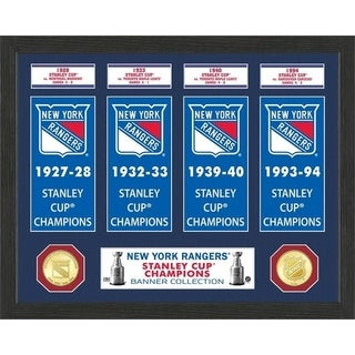 New York Rangers Stanley Cup Banner Collection Photo Mint - Multi