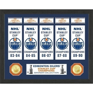 Edmonton Oilers Stanley Cup Banner Collection Photo Mint - Multi