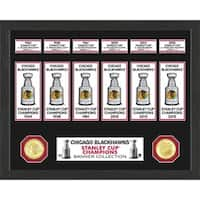 Chicago Blackhawks Stanley Cup Banner Collection Photo Mint - Multi