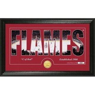 "Calgary Flames ""Silhouette"" Bronze Coin Panoramic Photo Mint - Multi"