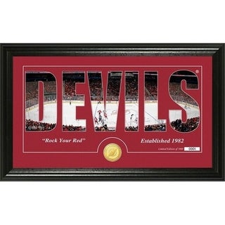 """New Jersey Devils """"Silhouette"""" Bronze Coin Panoramic Photo Mint - Multi"""
