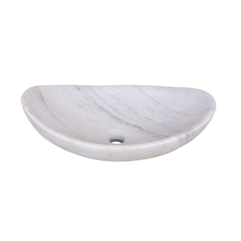 Novatto Carrera White Marble Slipper Vessel Sink and Brushed Nickel Umbrella Drain
