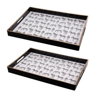 Set of 2 Quinn Rectangular Trays,Zebras