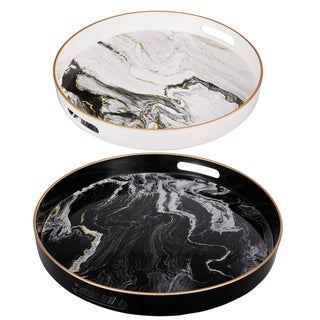 Quinn Black and White Marble Design Round Trays(Set of 2)