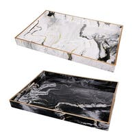 Set of 2 Quinn Rectangular Trays,Black&White