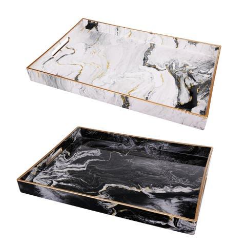 Quinn Black and White Marble Rectangular Trays