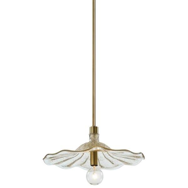 Gold Fleck Glass Flower Pendant Light with Candelabra Base