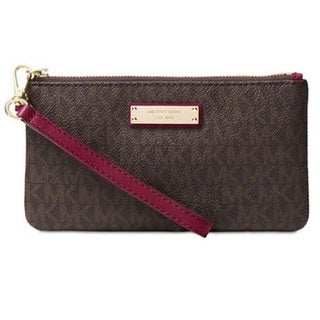 Michael Kors Signature Jet Set Item Medium Brown/Damson Wristlet