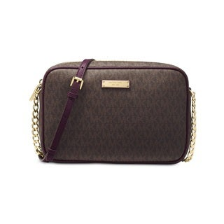 Michael Kors Signature Jet Set Large East/West Brown/Damson Crossbody Bag