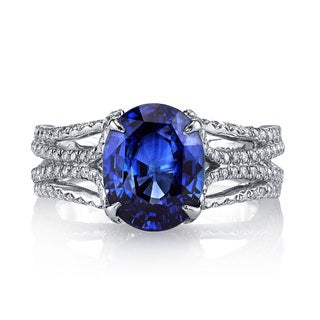 Lihara and Co Platinum NATURAL UNHEATED 4.41ct Blue Sapphire and 1/2 ct TDW Diamond Ring (G-H, VS1-VS2)
