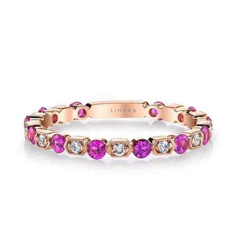 Lihara and Co. 18K Rose Gold Diamond (0.15ct TDW) Fashion Band with Pink Sapphires (0.50ct) (G-H, VS1-VS2)