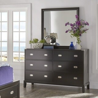 Lonny 6-Drawer Black Wood Campaign Dresser and Mirror by iNSPIRE Q Classic