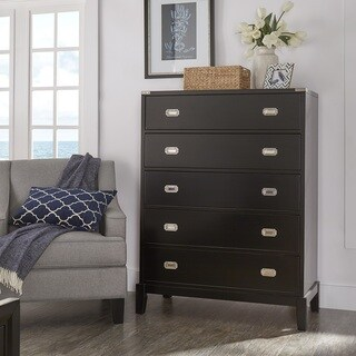 Lonny 5-Drawer Black Wood Campaign Chest by iNSPIRE Q Classic