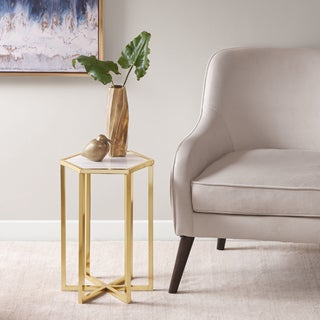 Madison Park Phinney Marble Gold Accent Table