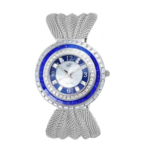 Adee Kaye Womens MOP Crystal & Mesh Watch-Silver tone/Blue