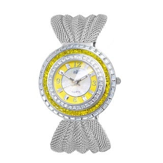 Adee Kaye Womens MOP Crystal & Mesh Watch-Silver tone/Yellow