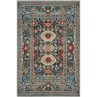"Momeni Lenox Traditional Oriental Blue/Red Area Rug - 7'6"" X 9'6"""