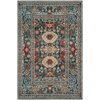 Momeni Lenox Traditional Oriental Blue/Red Area Rug (7'6 x 9'6)