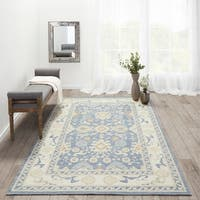 Momeni Anatolia ANA-7 Light Blue/Beige Wool Nylon Area Rug (7'9 x 9'10)