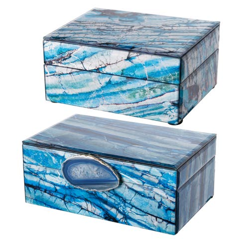 Set of 2 Ione Jewelry Boxes, Blue