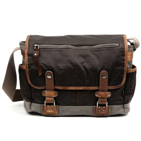 TSD Brand Tapa Two-Tone Canvas Messenger Bag