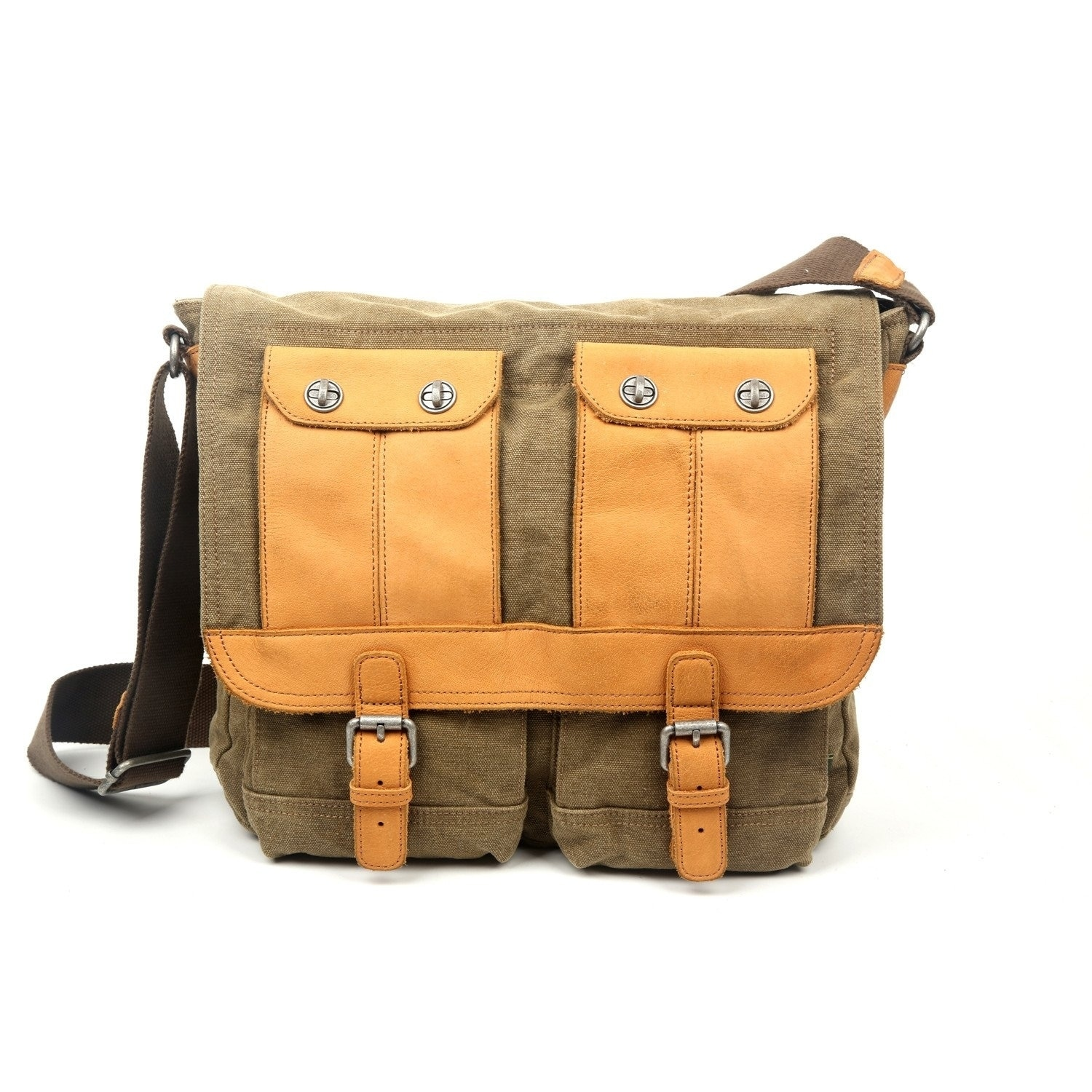 a300ceee3453 Details about TSD Brand Valley River Canvas Messenger Bag