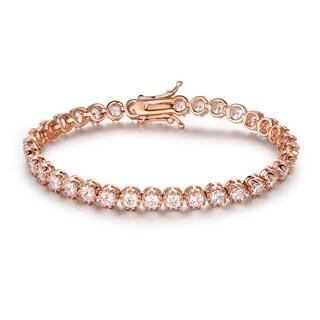 Rose Gold Plated Cubic Zirconia Crown Tennis Bracelet