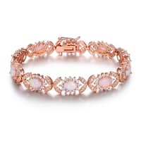 Rose Gold Plated Fire Opal Alternating Tennis Bracelet
