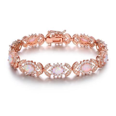 Rose Gold Plated Fire Opal Alternating Tennis Bracelet
