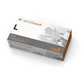 Medline Accutouch Powder-Free Latex-Free Vinyl Exam Gloves Large (Case of 1 000)