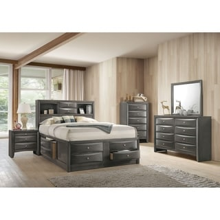 ACME Ireland Storage Eastern King Bed in Gray Oak