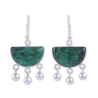 Handmade Sterling Silver 'Beautiful Universe' Chrysocolla Earrings (Peru)