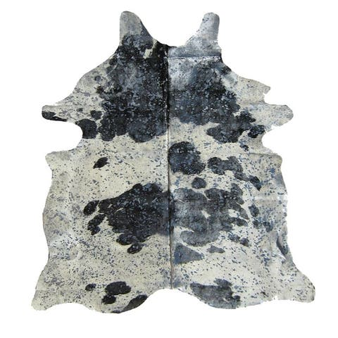 Black/White/Silver Authentic Cowhide - Hair-on Cowhide Real Leather - Multi - 5' x 7' - 5' x 7'