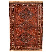 Handmade Herat Oriental Persian Hand-Knotted Antique Shiraz 1920's Wool Rug (Iran) - 3'9 x 5'1