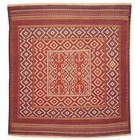 Handmade Herat Oriental Afghan Hand-woven Sofra Sumak Balouchi Wool Rug (Afghanistan) - 4'3 x 4'9