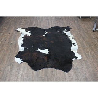 Brown/Black/White Authentic Cowhide - Hair-on Cowhide Real Leather - 5' x 7'