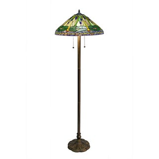 Charming Tiffany Style Green Dragonfly Floor Lamp