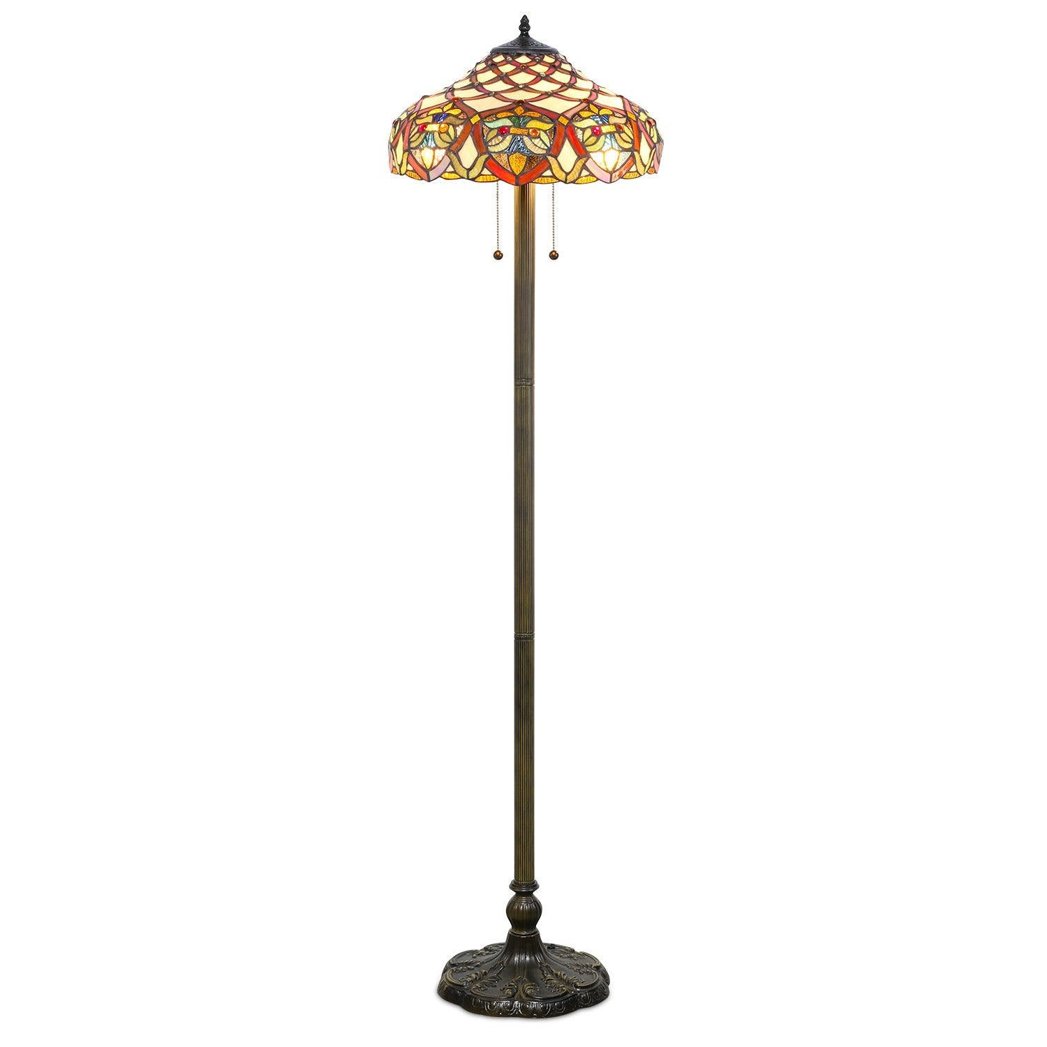 1908 Studios Tiffany-style Baroque Floor Lamp, Brown (Glass)