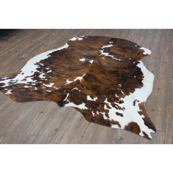 Brown Black White Authentic Hair On Real Cowhide Leather Area Rug 5