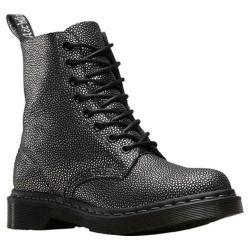 Women's Dr. Martens 1460 8-Eye Boot W Black/Silver Pebble Metallic Split Suede/Leather