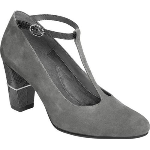 2ec1b8221e1e Shop Women s Aerosoles North Star T Strap Dark Gray Suede Snake Printed  Leather - Free Shipping Today - Overstock - 17099627