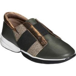 Women's Aerosoles Fresh Air Sneaker Dark Green Combo Leather/Elastic/Tweed Wool