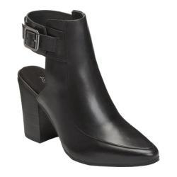 Women's Aerosoles Square Up Bootie Black Leather